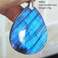 Top Natural Labradorite Blue Light Women Pendant Water Drop Labradorite Necklace Gemstone Rare Jewel