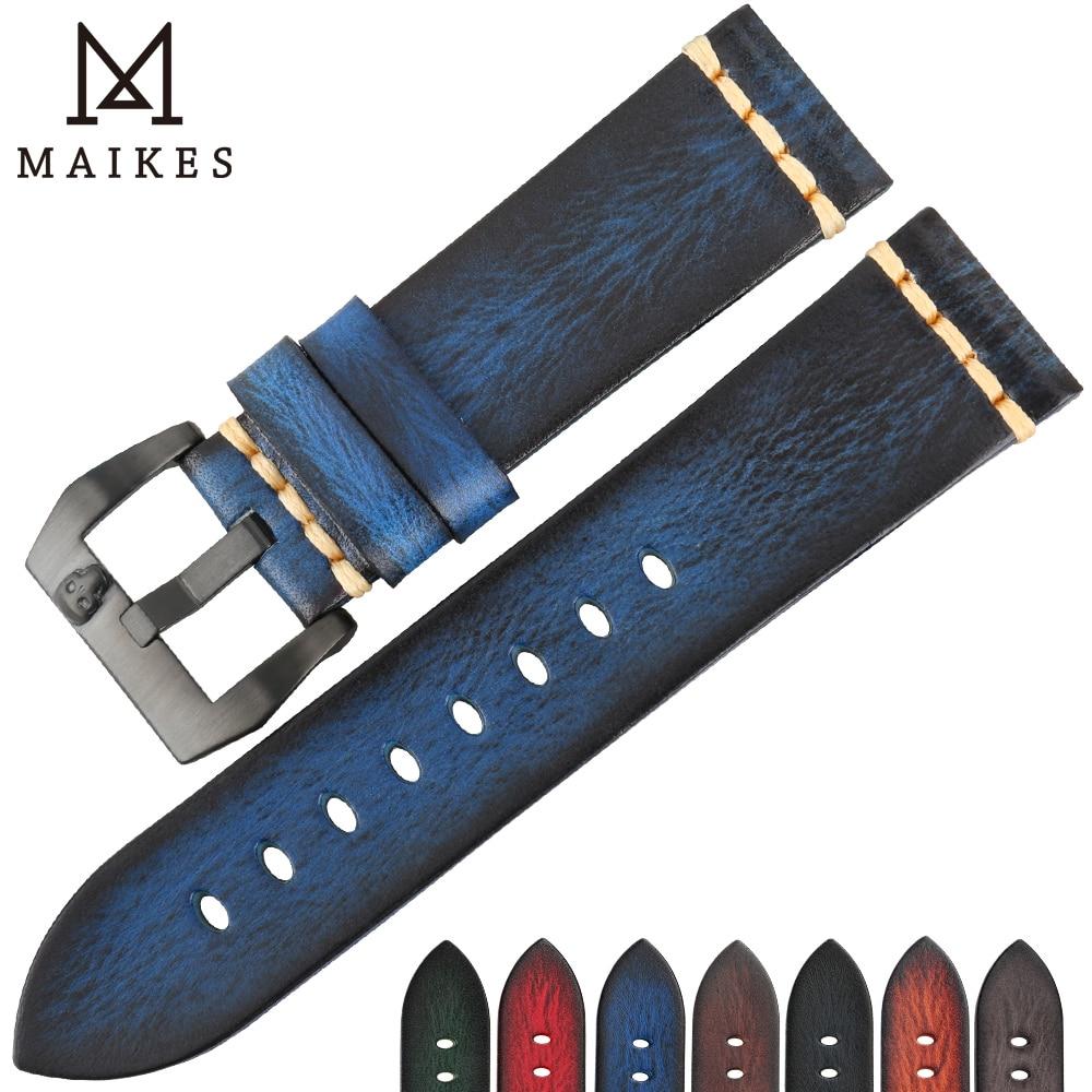 MAIKES hecho a mano genuino cuero de vaca correa de reloj Vintage azul reloj pulsera 20mm 22mm 24mm correa de reloj