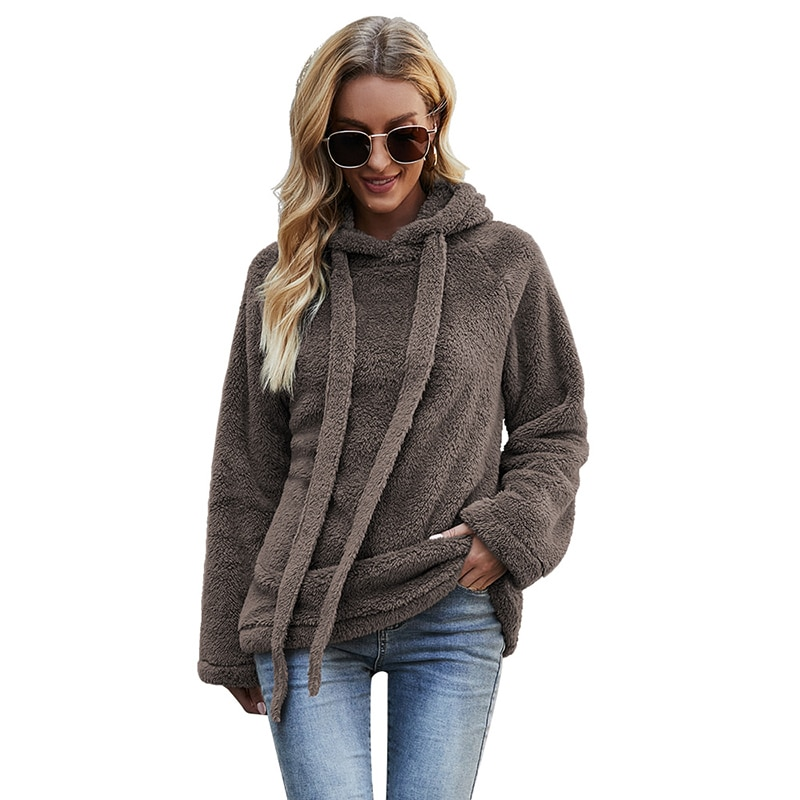 Casual Loose Women Flocking Hooded Female Pullovers Long Sleeve Tops Women Streetwear Hoodies Hooded Warm Women Winter Jacket