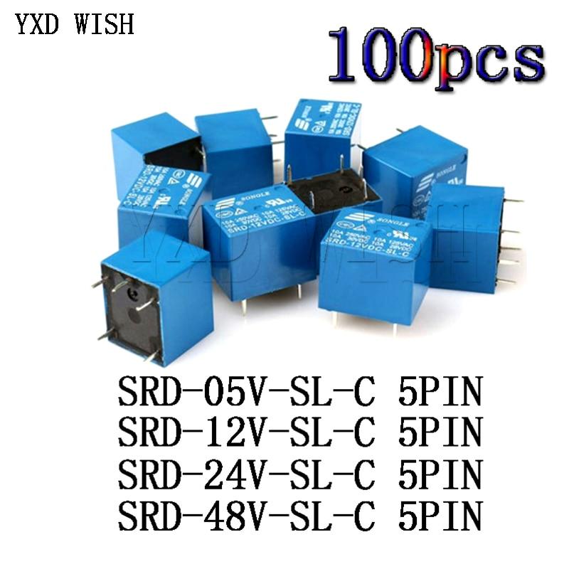 100 قطعة/الوحدة SRD-05VDC-SL-C SRD-12VDC-SL-C SRD-24VDC-SL-C SRD-48VDC-SL-C تتابع 5Pin SRD 05V 12V 24V 48V DC الطاقة التبديلات