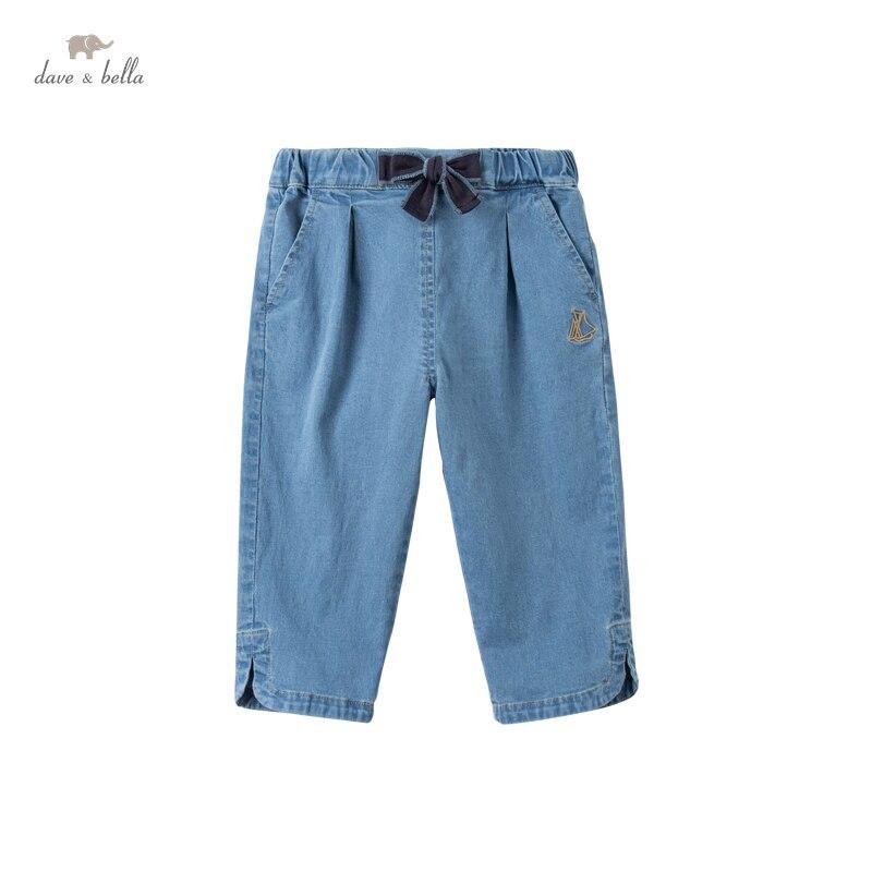 DKY17742-2 ديف بيلا الصيف 5Y-13Y الاطفال الفتيات الأزياء القوس الصلبة جيوب السراويل الأطفال بوتيك عارضة العجل طول السراويل