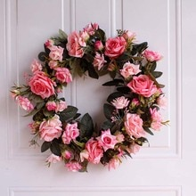 Christmas Artificial Flowers DIY Rose Flower Wreath Hanging Wall DIY Garland Home Door Decor Handmade Party Flower Ornaments
