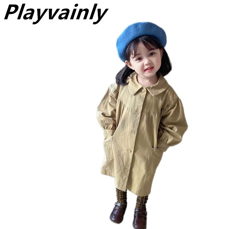 2020 Autumn Baby Girls Coat Khaki Casual Coat single-breasted Loose Dust coat Girl Clothes E31030