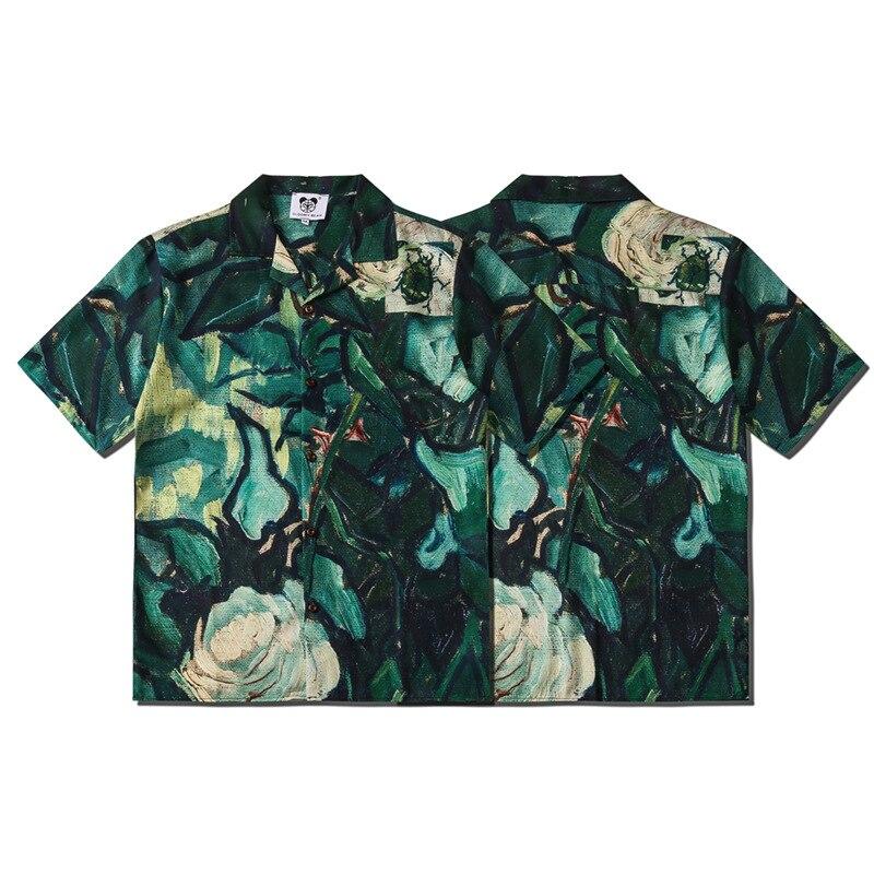 Весенне-летняя уличная мода для отдыха для мужчин и женщин свободные кардиганы рубашка с короткими рукавами и отложным воротником с принто...