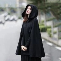 hooded women gothic black oversize solid color capes ponchos indie style loose fashion outerwear winter clothes y2k coat goth
