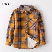 gfmy 2019 winter 100 cotton full sleeve fashion plus velvet plaid boys shirt 3t 12t casual big kid clothes can be a coat