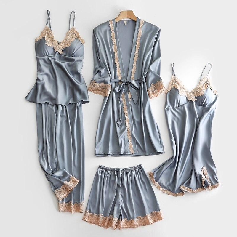 5PCS Pajams Set Lady Satin WEDDING Sleepwear Kimono Bath Gown Lace Trim Intimate Lingerie Casual Sleep Set Sexy V-neck Nightwear