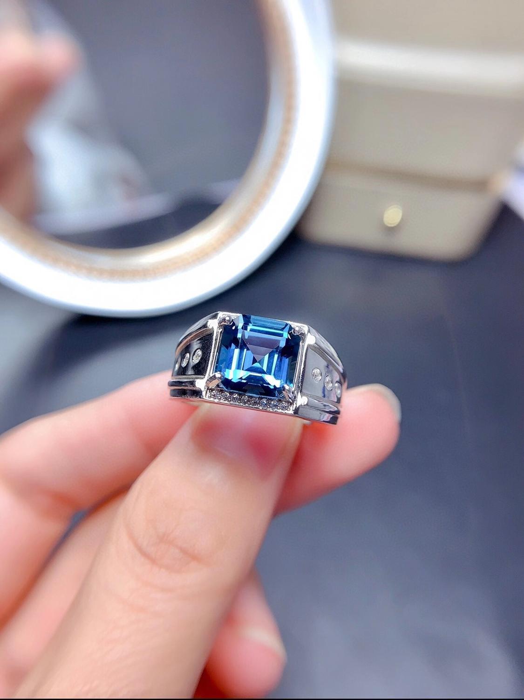 خاتم رجالي من الفضة الإسترليني عيار S925 ، مقاس 9 × 9 مللي متر ، جوهرة توباز زرقاء طبيعية ، مربع ، حجر بخت ، هدية
