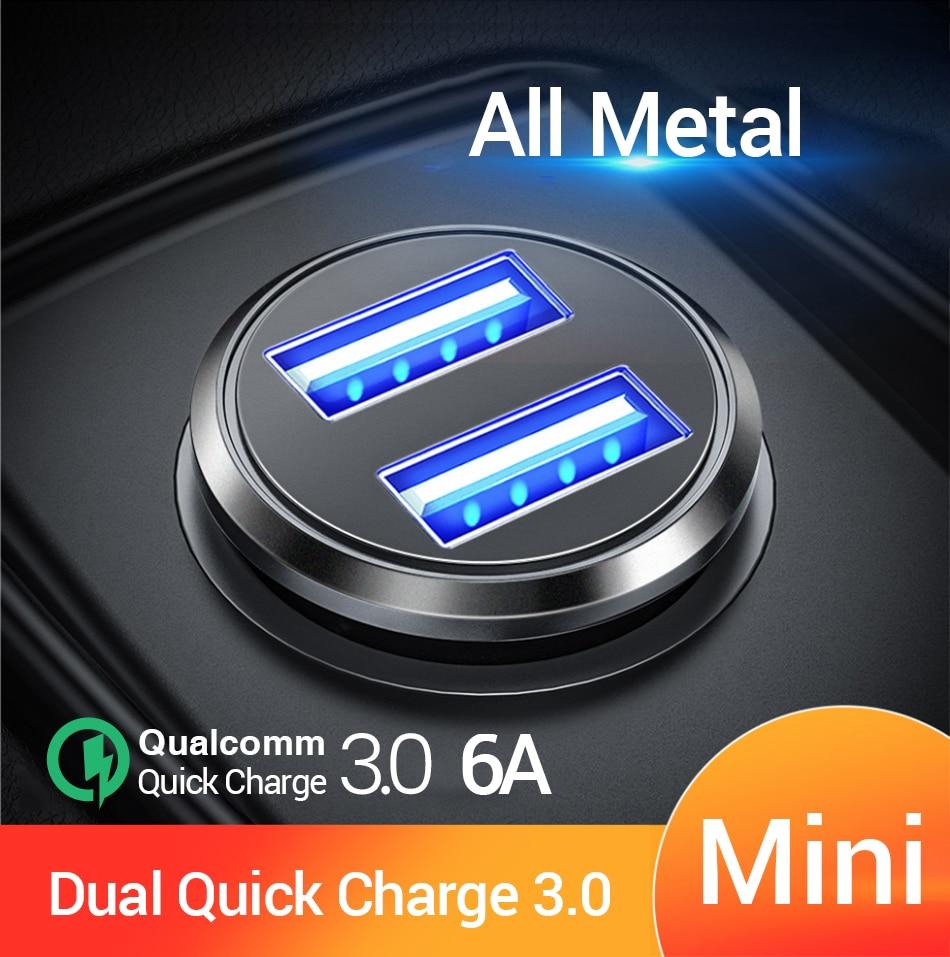 "FIVI כפולה USB מהיר מטען לרכב כל מתכת רכב מטען פ""ד QC 3.0 מיני רכב טלפון מטען עבור iphone 11 פרו סמסונג huawei xiaomi"