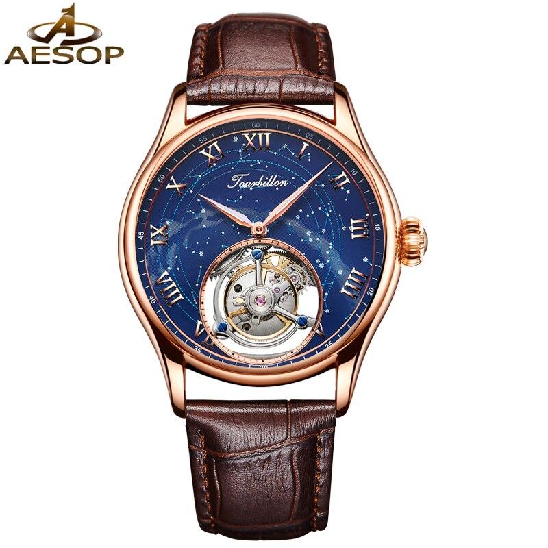 AESOP-ساعة ميكانيكية توربيون أصلية للرجال ، ساعة يد أوتوماتيكية ، مقاومة للماء ، 2020