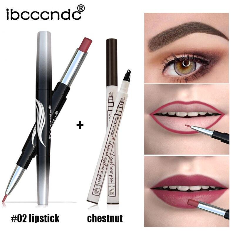 Dropship lápiz labial de doble cabeza mate lápiz de cejas a prueba de agua Set de maquillaje desnudo de larga duración cosmético dfdf