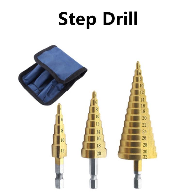 3-12mm 4-12mm 4-20mm HSS Straight Groove Step Drill Bit Set Titanium Coated Wood Metal Hole Cutter Core Drill Bit Set 3-13 4-22