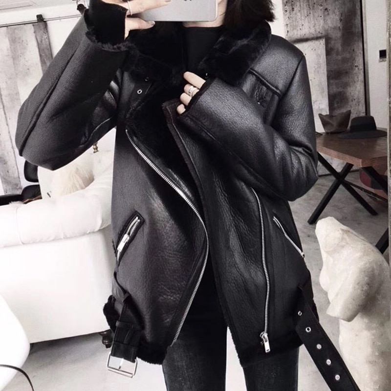 Ailegogo 2021 Winter Coats Women Thick Faux Leather Fur Sheepskin Coat Female Fur Leather Jacket Aviator Jacket Casaco Feminino