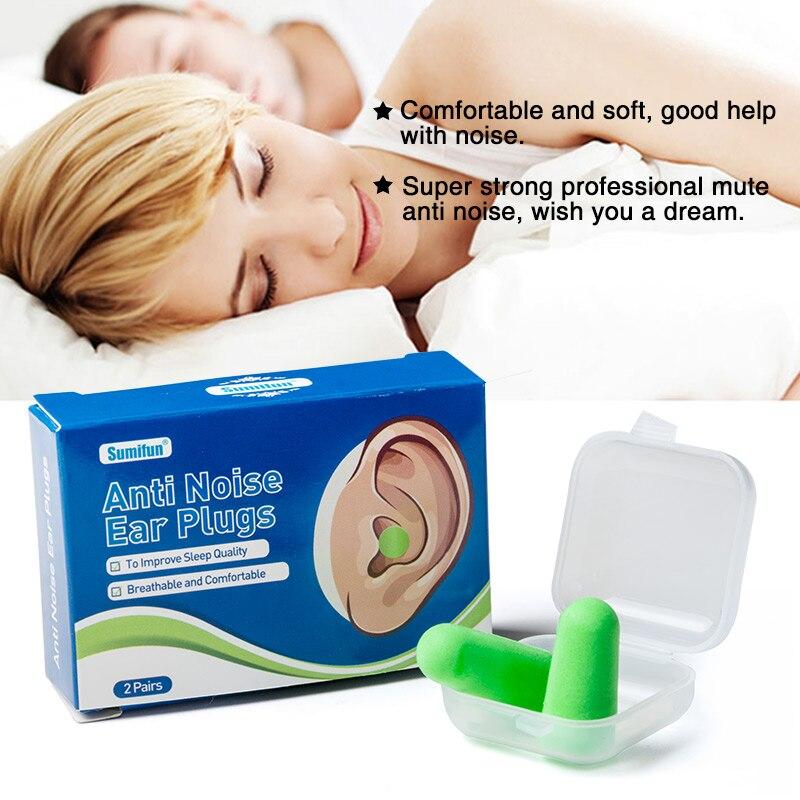 Sumifun 4 pces tampões de ouvido de espuma macia isolamento acústico protetores de ouvido anti-ruído dormir plugues d1747