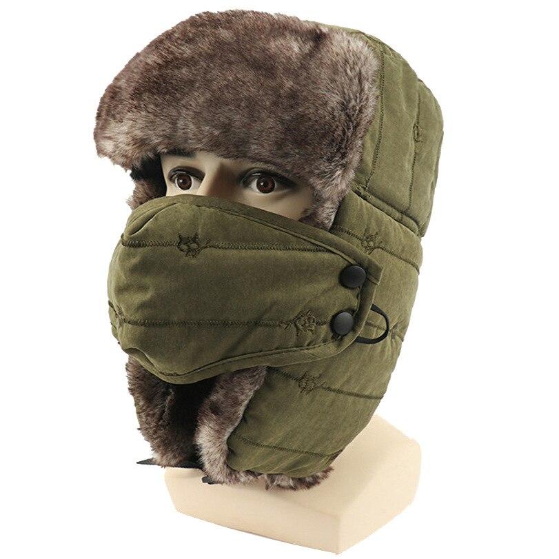 Winter Men Outdoor Sports Climbing Hat Cold Ski Cap Thick Warm Hat windproof Mask Earmuffs Hiking Camping Treking Women Dome Cap
