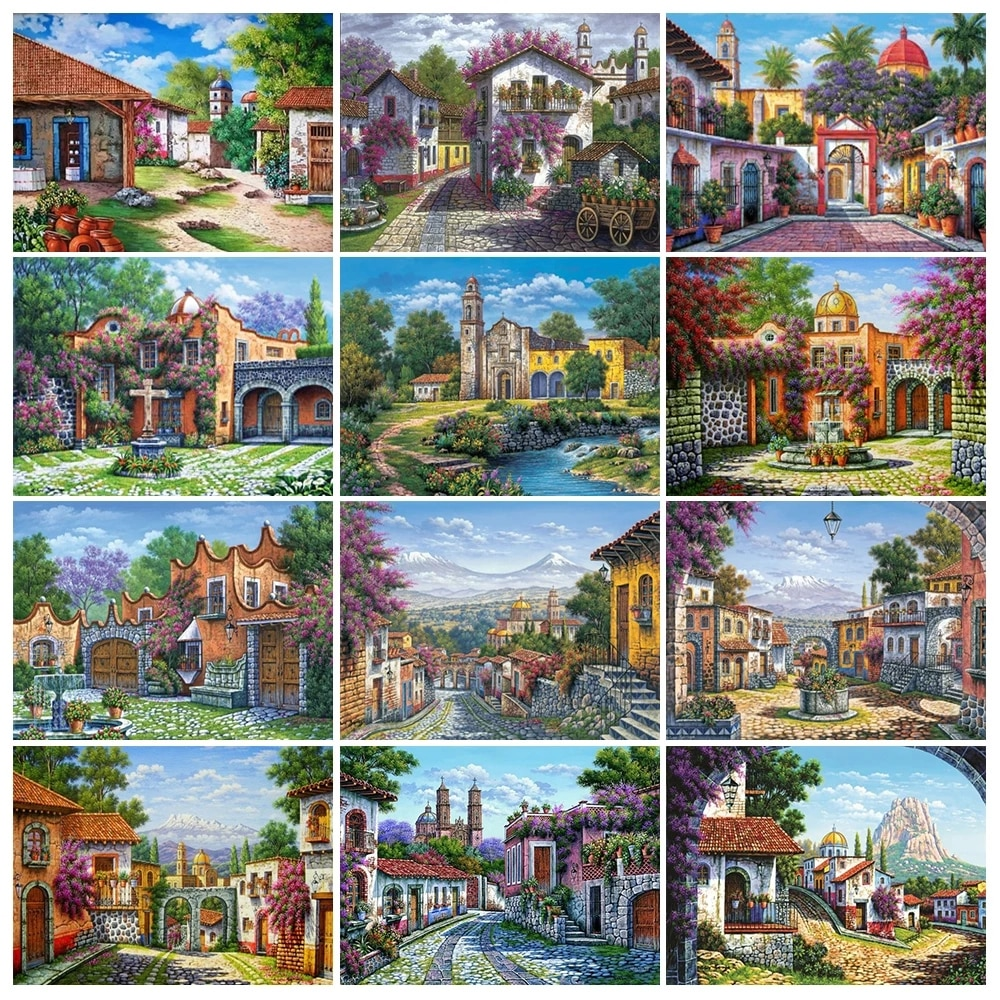 Full Square Diamond Embroidery House 2021 New Diamond Painting Landscape Art Picture Of Rhinestones Mosaic Needlework Home Decor