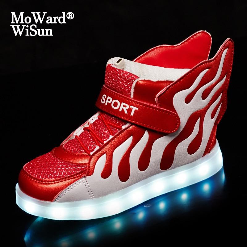Zapatos Led para niños de talla 25-37, zapatillas luminosas con alas para niños y niñas, zapatillas informales brillantes para niños y niñas