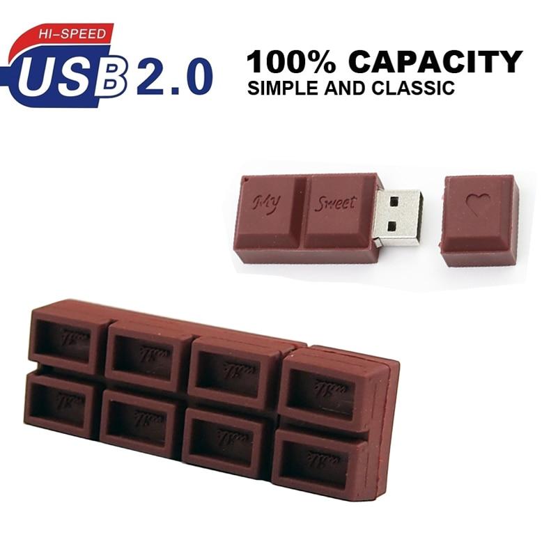 Dulce de Chocolate Usb Flash Drive 8gb 16gb 32gb 64gb blanco Diente de memoria Pen Drive Flash Pen Drive mejor regalo Usb