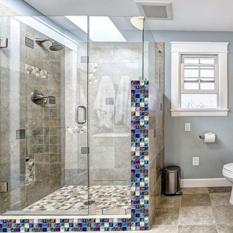 Bright Colorful Tile Mosaic Sticker 3d Waterproof Bathroom Glass Muursticker Wall Oil Proof Kitchen Decor Fayans Stickers W220