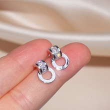 Hohe Qualität AAA Cubic Zirkon Geometrische Ohrringe Für Frauen Trendy Einfache Weibliche Ohrringe Hochzeit Engagement Party Schmuck Geschenke