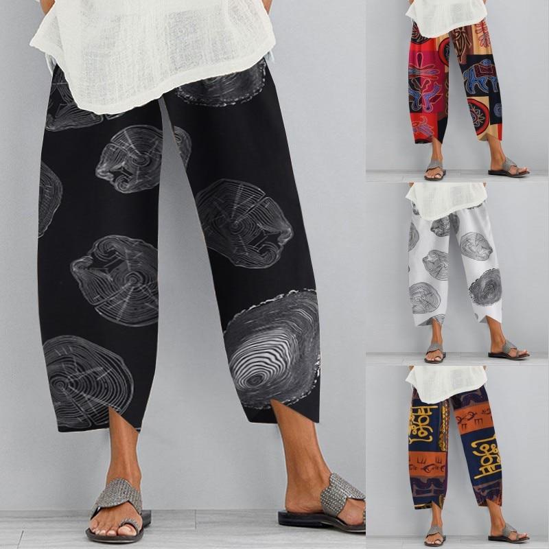 ZANZEA Vintage Print Pants Womens Summer Cropped Tousers Elastic Waist Long Pantalon Palazzo Female Casual Harem Pant Plus Size