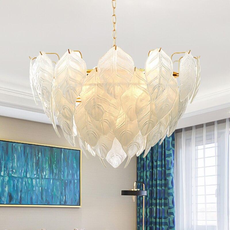 GPD الحديثة تصميم الثريا يترك الزجاج إضاءة داخلية لغرفة المعيشة مصقول الذهب led الثريات الأبيض لوتس شكل Люстра