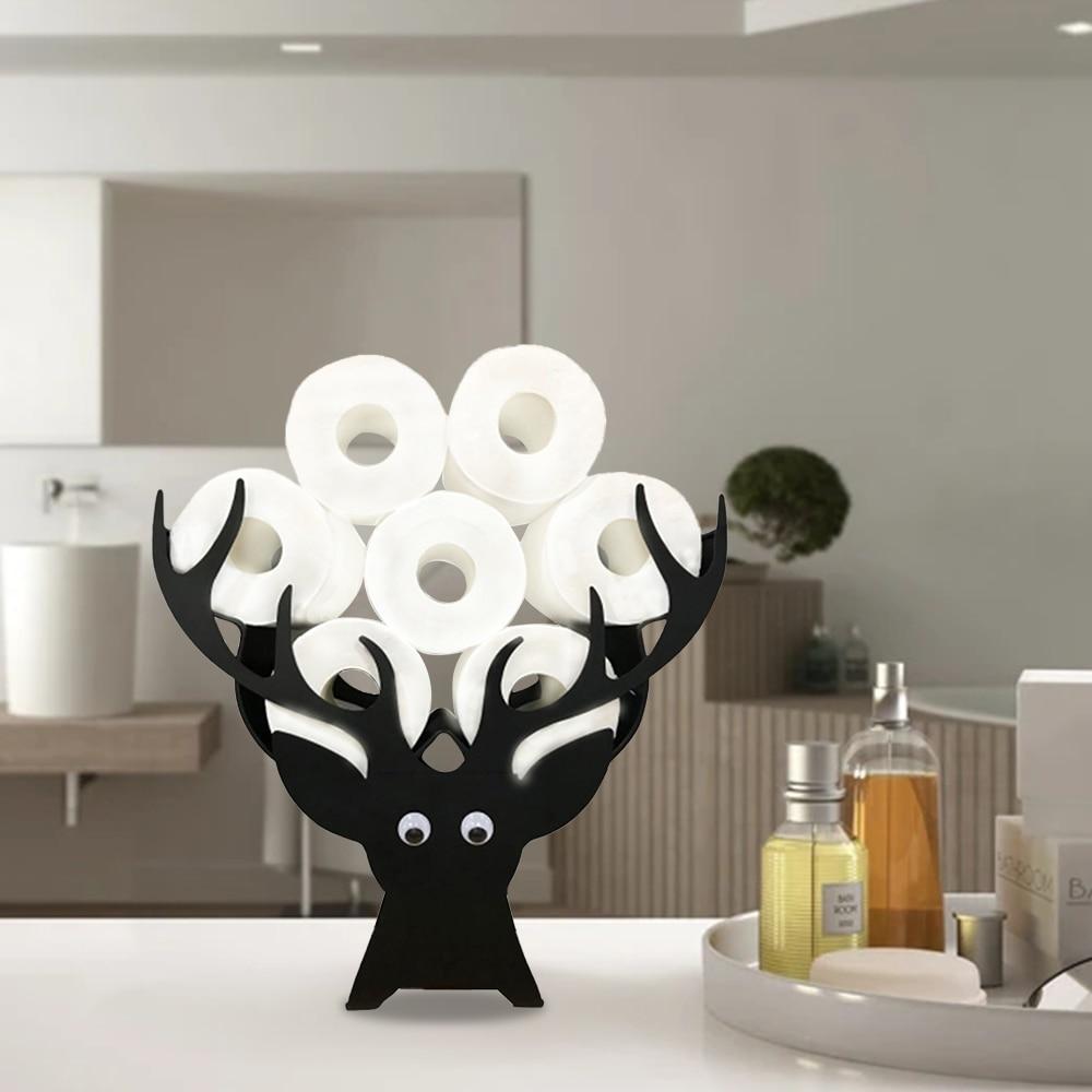 Elk رئيس ورقة حامل حامل معدني لفة ورق زينة زينة عيد الميلاد المطبخ الحمام المرحاض تخزين رفوف الرف المنظم