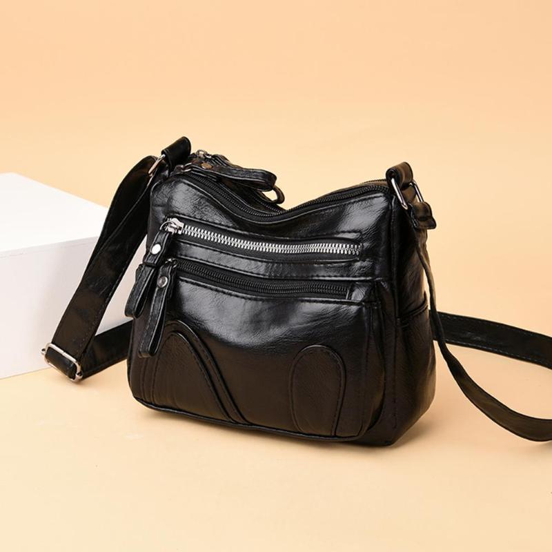 Bolsos cruzados de mujer atmósfera madura bien diseñado de cuero de moda de Color puro Retro hombro Messenger bolsos
