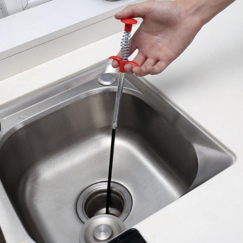 Herramienta de dragado de tubería de serpiente para el hogar, limpiador de cabello, cepillo, cepillo, desatascador, lavabo de cocina