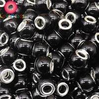 10 pcs black color white pearl bead big hole round spacer charms fit european pandora bracelet bangle for women jewelry making