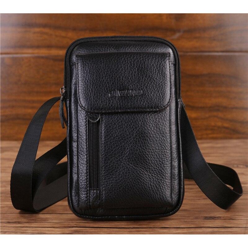 الرجال جلد طبيعي هاتف محمول حقيبة حقيبة محفظة غطاء الحقيبة حقيقي جلد البقر عبر الجسم فاني صغيرة رسول الكتف حزام الخصر أكياس