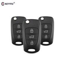 KEYYOU-coque de protection 3 boutons   Pliable et rabattable, pour Hyundai Avante I30 IX35 Kia K2 K5 Sorento Sportage