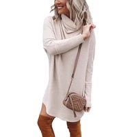 ropalia autumn women knitted mid length pile collar dress women solid color dress