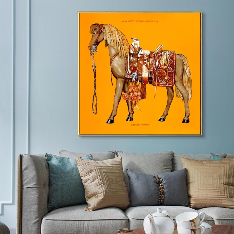 Animal Print naranja azul caballo lienzo pintura pósters e impresiones Cuadros de pared para sala de estar Cuadros decoración del hogar sin marco