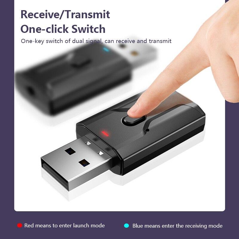Bluetooth 5,0 receptor de Audio transmisor Mini estéreo Bluetooth AUX USB 3,5mm Jack para TV auriculares casa