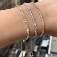 luxury one row cubic zirconia adjustable bracelet for women shiny colorful rhinestone crystal link chain bracelet jewelry gift