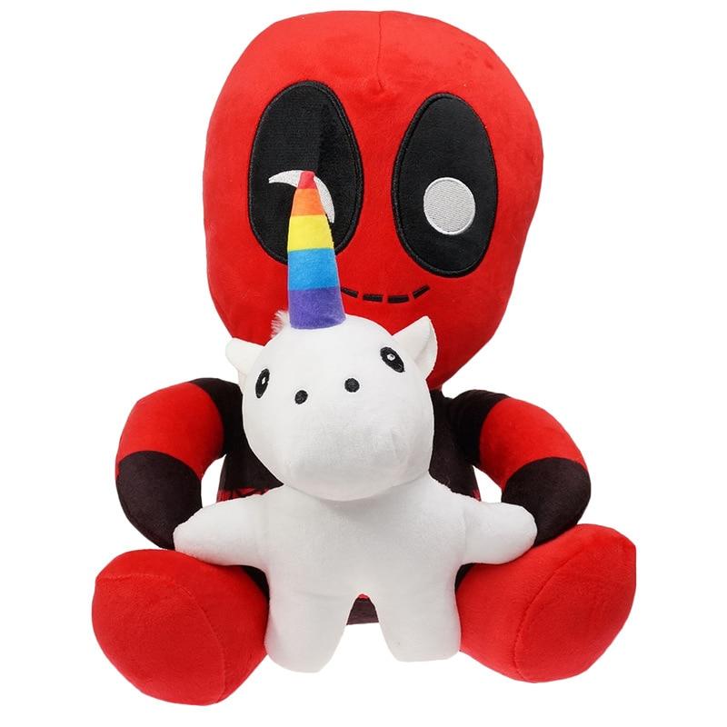 Q versión Deadpool con unicornios muñecas de peluche 30cm Deadpool peluche animado Wade Wilson juguetes regalo para niños