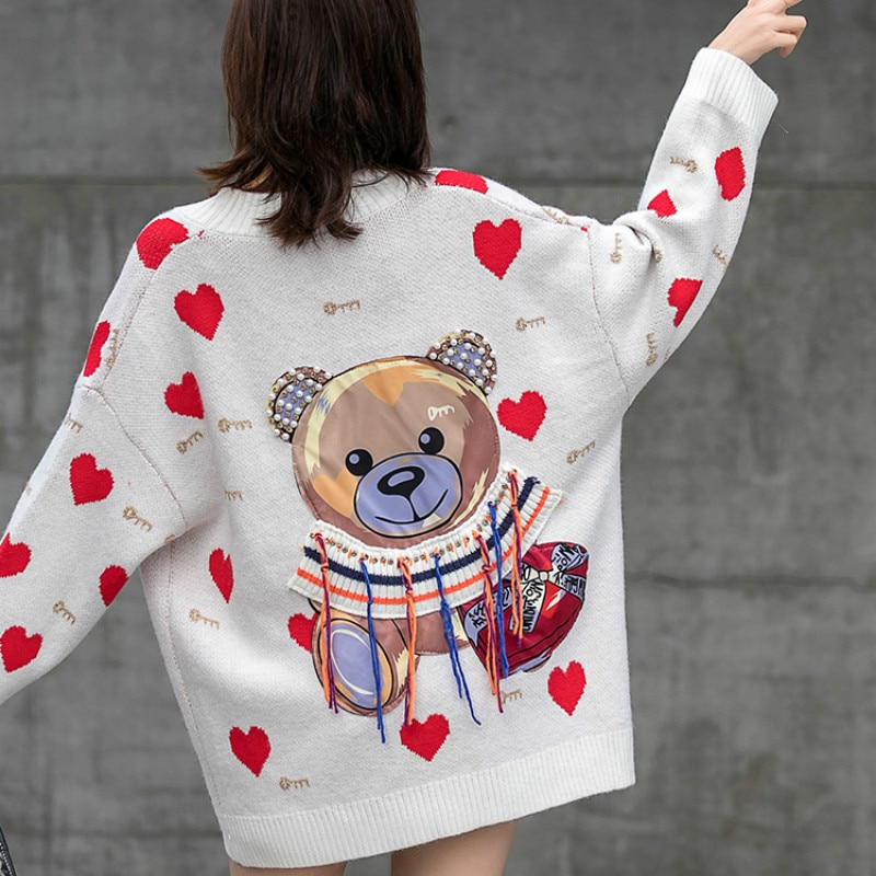 OIMG New Female Sweater Cardigan Long-sleeved Back Cartoon Pattern Knitted Coat Loose Street Purple Sweater Clothing enlarge