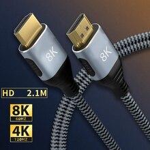 Высокоскоростной кабель 8K 60HZ Ultra HD для аудио и видео Ethernet-плетеный кабель 8K HDMI-совместимый с 48 Гбит/с для проекторов PS4/PS5 HDTVs