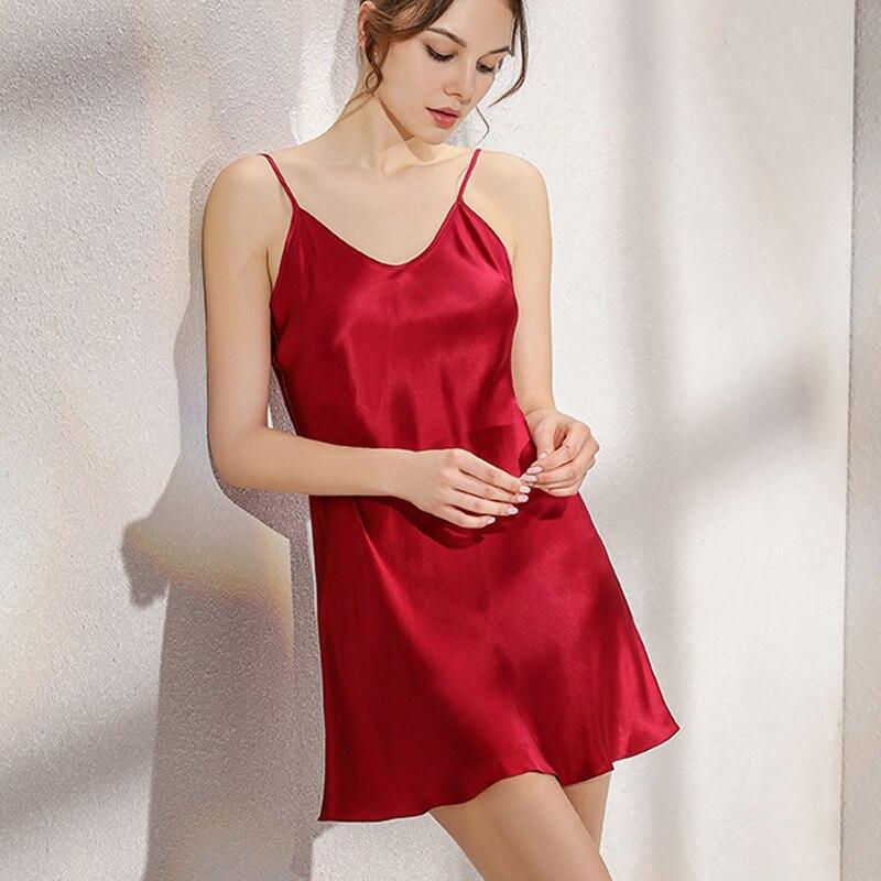 New 100% Natural silk gecelik nuisette women nightwear sexy sleepwear satin night dress pijamas nightgown night gown nighty