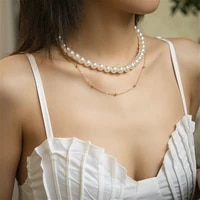 elegant white pearl choker necklace for women collier simulated pearl gold color chain multi layer statement necklace jewelry