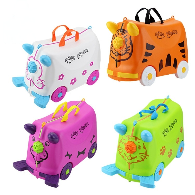 Kids Travel Luggage Cartoon Animals Ride Car Suitcase Rolling Stroller Storage Box Trolley Suitcase for Kids Riding On