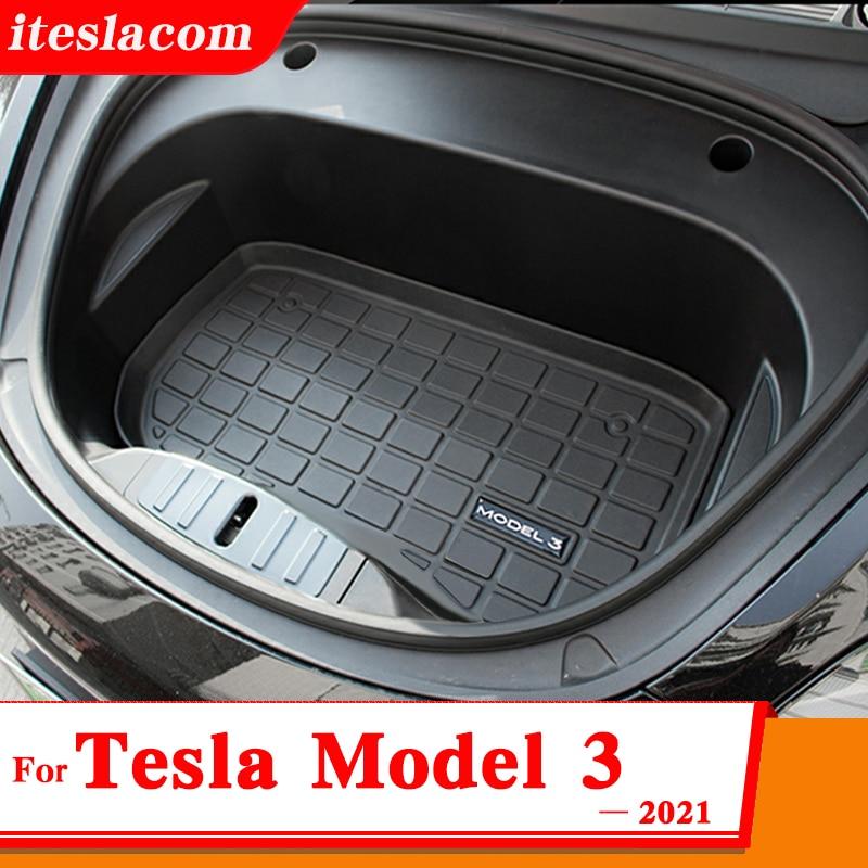 Nuovo modello 3 2021 tappetino scatola portaoggetti anteriore auto per Tesla modello 3 accessori modello tre cuscinetti protettivi TPE Model3 tappetino vassoio carico s