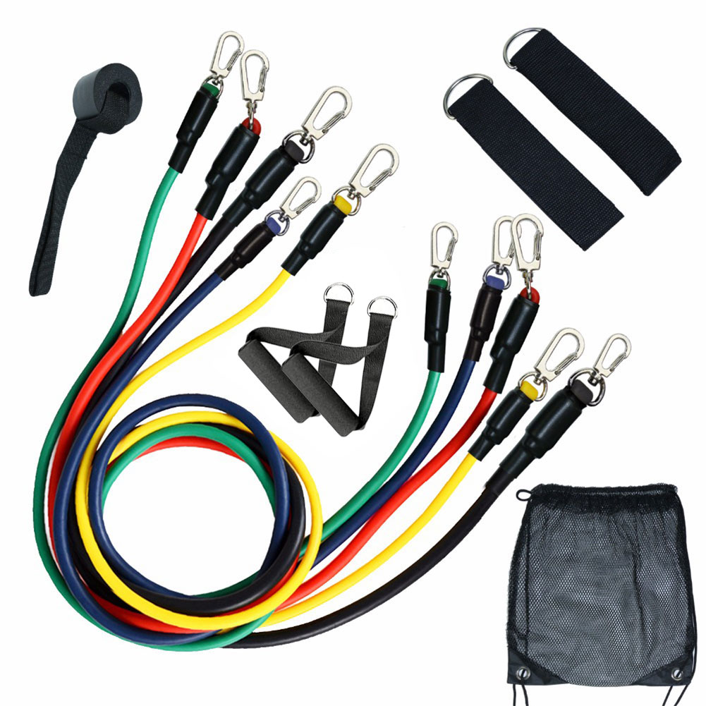 11 Pcs Resistance Bands Set Fitness Gym Equipment Exercise Pull Rope Elastic Training Expander