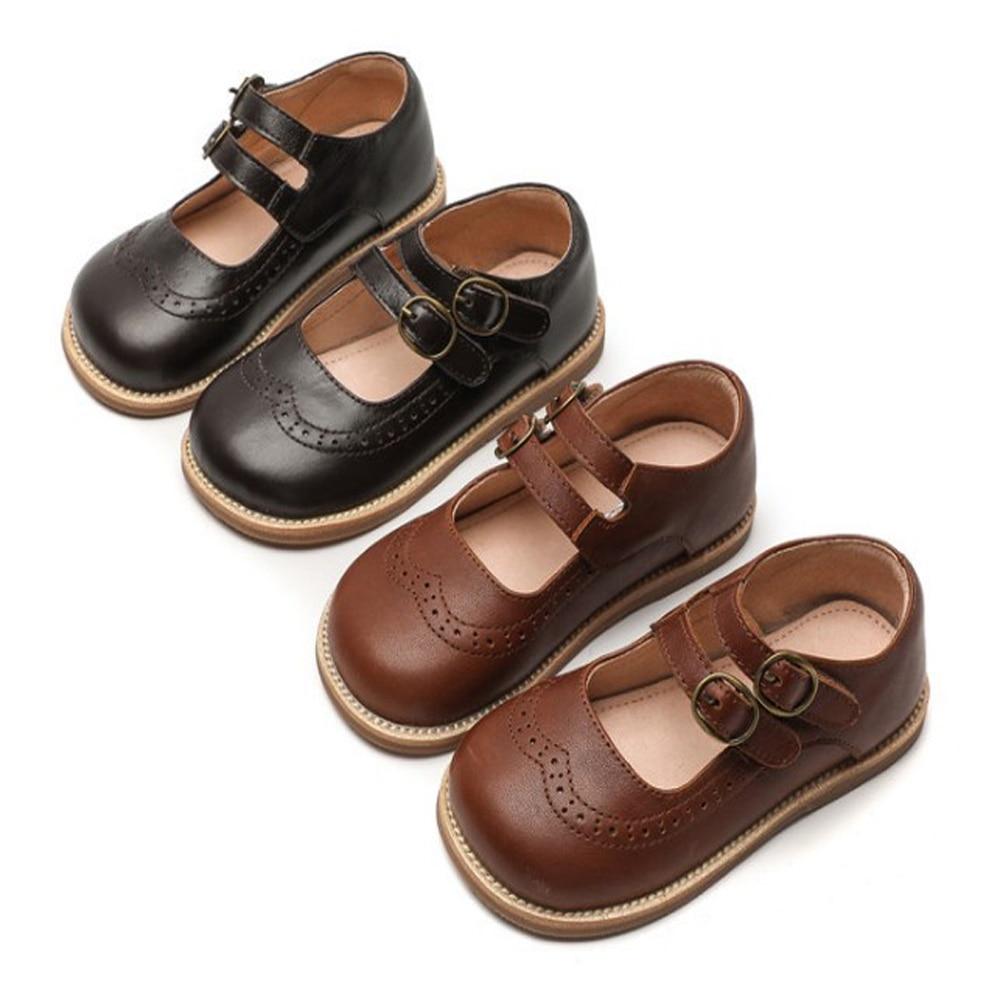 أحذية للفتيات أحذية ماري جين من الجلد الأصلي بلون بني أحذية أطفال للطلبة في المدارس أحذية بنات جديدة