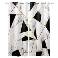 marble texture black and white triangle curtains for living room bedroom kitchen window treatment curtain home decoration