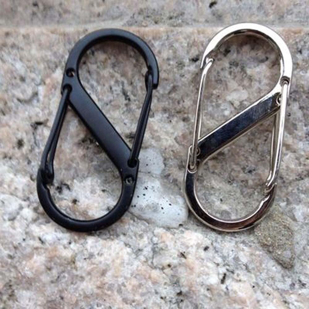 Gancho de escalada de acero inoxidable tipo S Mini llavero mosquetón al aire libre hebilla doble llavero 8 hebilla de forma para Camping