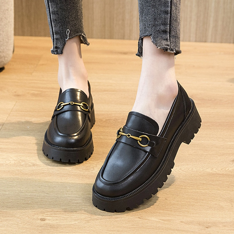 Women's Loafers 2021 Black Platform Shoes for Women Heels Party Lady Pumps Woman Shoes Ladies Fashion Female Heel Sneakers Femme