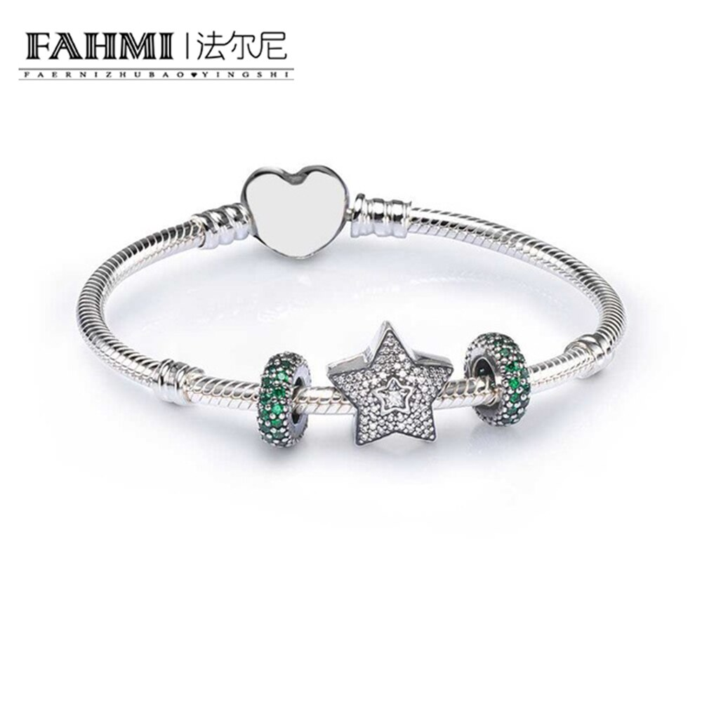 2020 100% 925 Sterling Silver SALE - PAVE WISHING STAR CHARM BRACELET SET fit DIY Original charm Bracelet jewelry A Set