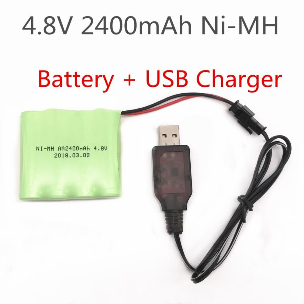 RC Car Battery 4.8V 2400mAh Battery 4.8v NiMH battery and Charger For RC TOYS Tank Toys Guns RC Boat